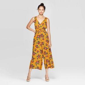 Floral  Sleeveless V-Neck Smocked Waist Jumpsuit